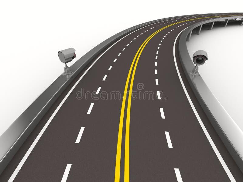 ασφαλτωμένο οδικό λευκό φωτογραφικών μηχανών ελεύθερη απεικόνιση δικαιώματος