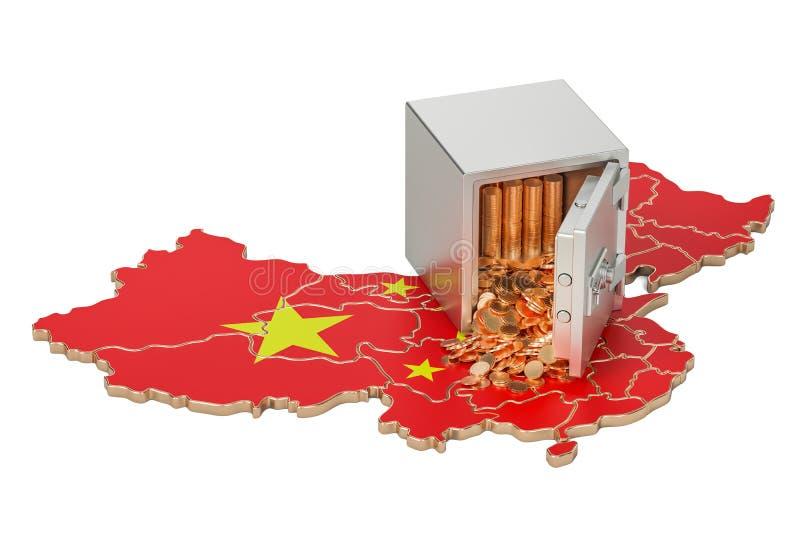 Ασφαλές κιβώτιο με τα χρυσά νομίσματα στο χάρτη της Κίνας, τρισδιάστατη απόδοση διανυσματική απεικόνιση