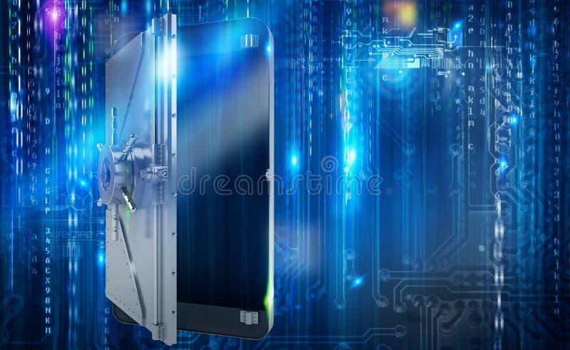 Ασφαλές κινητό τηλέφωνο από την επίθεση χάκερ όπως strongbox τρισδιάστατη απόδοση ελεύθερη απεικόνιση δικαιώματος