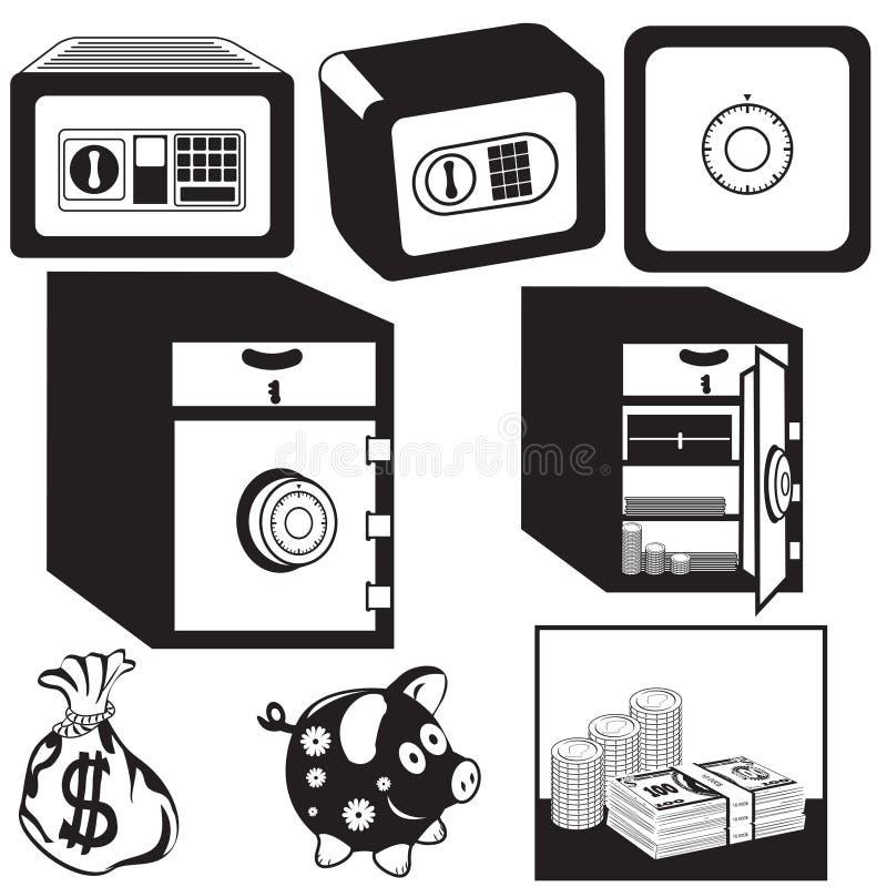 Ασφαλή μαύρα εικονίδια κιβωτίων απεικόνιση αποθεμάτων