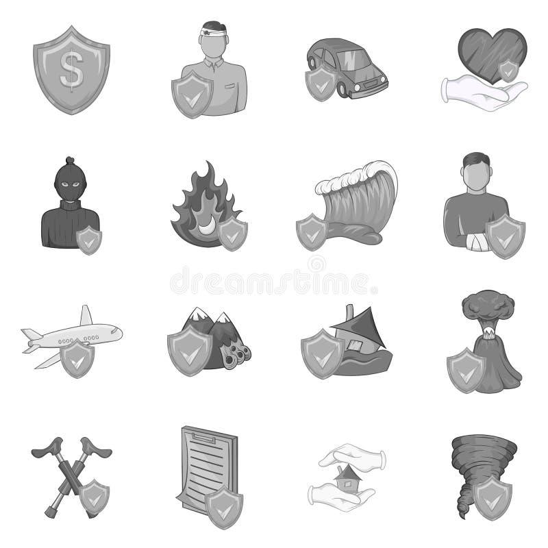 Ασφαλιστικά εικονίδια καθορισμένα, μαύρο μονοχρωματικό ύφος απεικόνιση αποθεμάτων