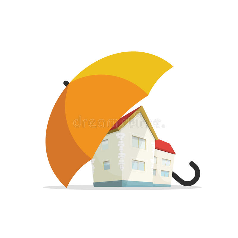 Ασφαλιστική έννοια σπιτιών, εγχώρια ακίνητη περιουσία που προστατεύεται κάτω από την ομπρέλα, προστασία απεικόνιση αποθεμάτων
