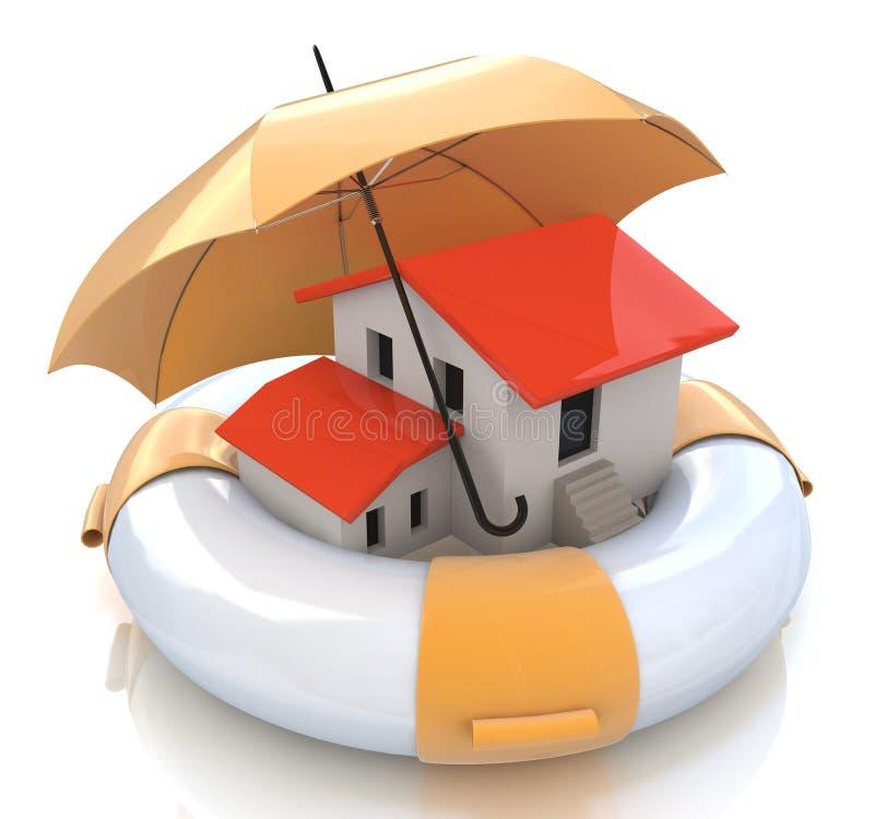 Ασφαλιστική προστασία σπιτιών από την υποθήκη Οικονομικός και δομικός κίνδυνος ακίνητων περιουσιών ελεύθερη απεικόνιση δικαιώματος