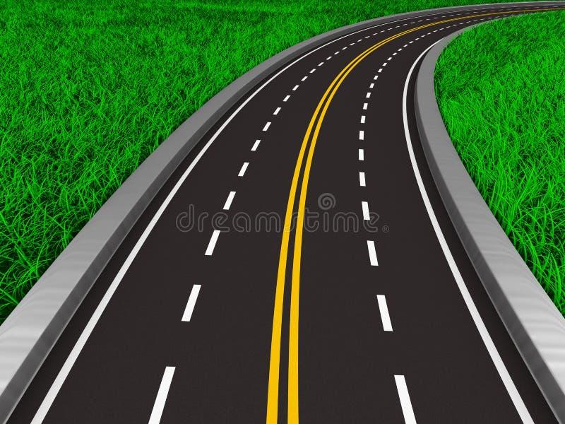 Ασφαλτωμένος δρόμος στη χλόη διανυσματική απεικόνιση