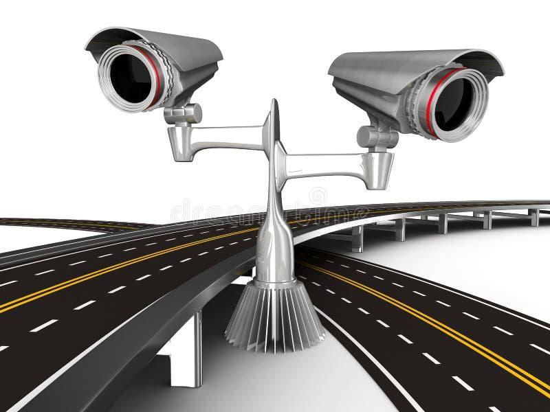 ασφαλτωμένο οδικό λευκό φωτογραφικών μηχανών διανυσματική απεικόνιση