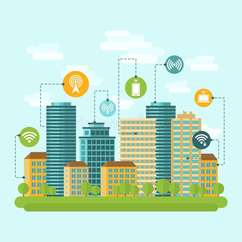 Ασύρματη σύνδεση στο Διαδίκτυο πόλεων απεικόνιση αποθεμάτων