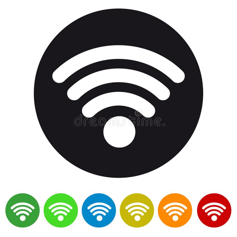 Ασύρματο σήμα Wlan Διαδίκτυο Wifi - επίπεδο εικονίδιο για Apps και τους ιστοχώρους διανυσματική απεικόνιση