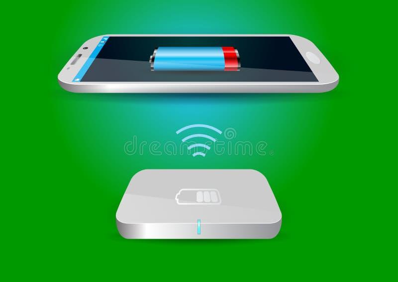 Ασύρματο φορτιστής μπαταριών και Smartphone ή ταμπλέτα - διανυσματικό Illus ελεύθερη απεικόνιση δικαιώματος