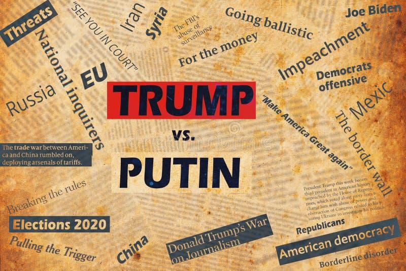 Αταίριαστο κολάζ με τίτλους εφημερίδων και κείμενο για τον Πρόεδρο των ΗΠΑ Ντόναλντ Τραμπ και τον αρχηγό της Ρωσίας Βλαντιμίρ Πού στοκ φωτογραφία