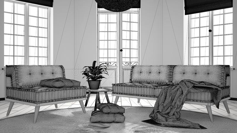 Ατελές πρόγραμμα του Σκανδιναβικού μινιμαλιστικού καθιστικού με τα μεγάλους παράθυρα, τον καναπέ, την πολυθρόνα και τον τάπητα, σ στοκ φωτογραφία με δικαίωμα ελεύθερης χρήσης