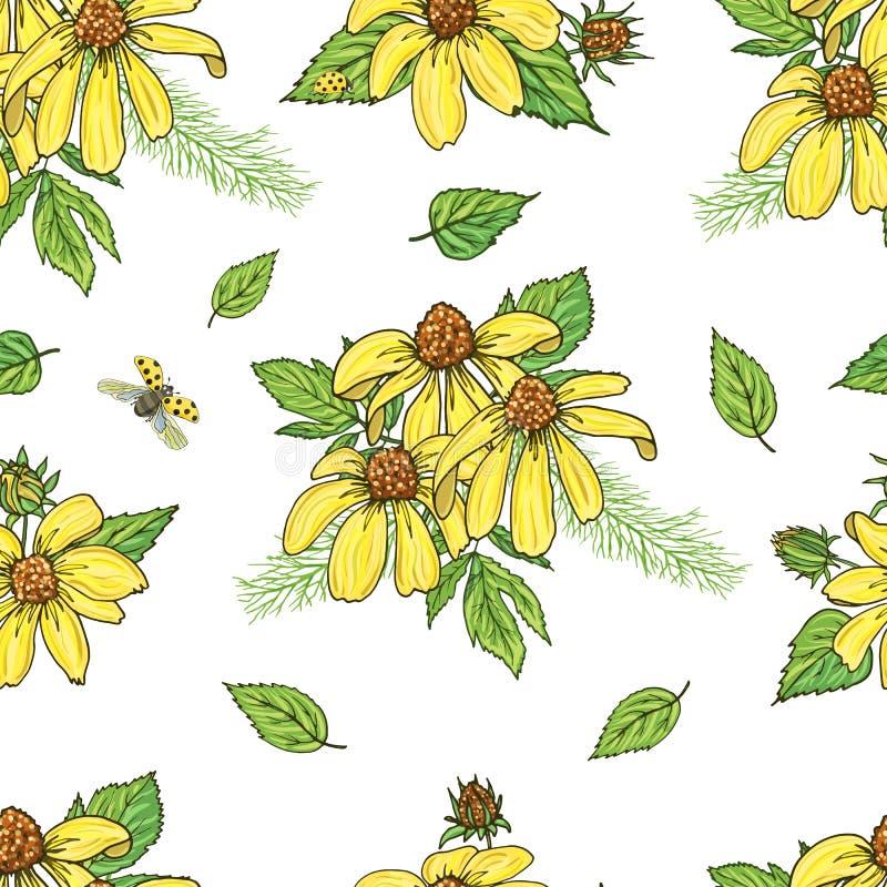 Ατελείωτη σύσταση για το σχέδιο με τα κίτρινα λουλούδια απεικόνιση αποθεμάτων