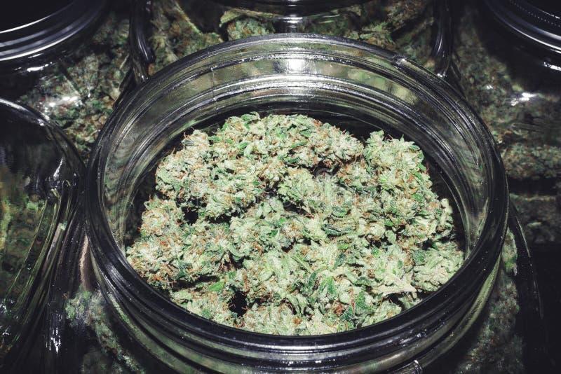Ατελείωτος ανεφοδιασμός οφθαλμών μαριχουάνα στο εμπορευματοκιβώτιο γυαλιού στοκ φωτογραφία με δικαίωμα ελεύθερης χρήσης