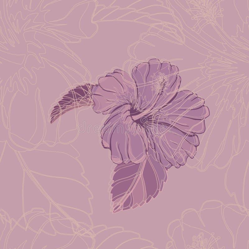 Ατελείωτο σχέδιο με hibiscus στο ιώδες σκηνικό απεικόνιση αποθεμάτων