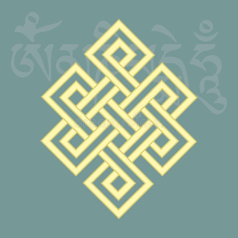 Ατελείωτος κόμβος, ένα από οκτώ ευνοϊκά βουδιστικά θρησκευτικά σύμβολα, διανυσματική απεικόνιση