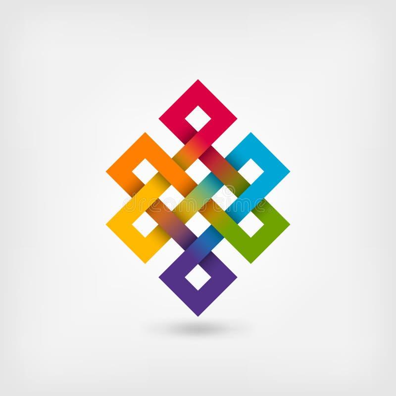 Ατελείωτος κόμβος Shrivatsa στα χρώματα ουράνιων τόξων απεικόνιση αποθεμάτων