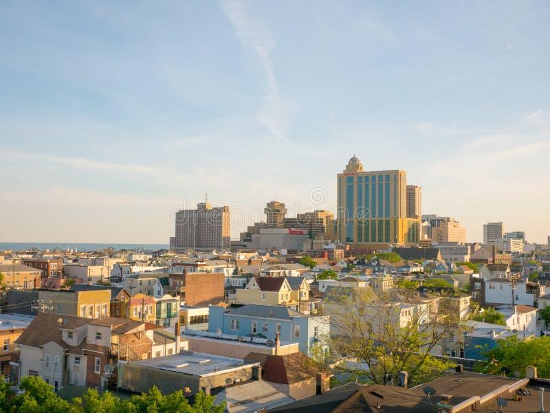 ΑΤΛΑΝΤΙΚ ΣΊΤΥ, NJ - ΤΟ ΜΆΙΟ ΤΟΥ 2018 Άποψη άνωθεν της Ατλάντικ Σίτυ στο ηλιοβασίλεμα, Νιου Τζέρσεϋ Η πόλη είναι γνωστή για τις χα στοκ φωτογραφίες με δικαίωμα ελεύθερης χρήσης