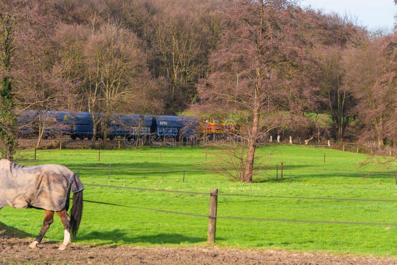 Ατμομηχανή στο σιδηρόδρομο που διασχίζει σε Ratingen στοκ εικόνα