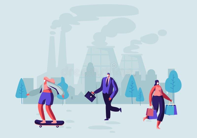Ατμοσφαιρική ρύπανση, άνθρωποι στον προστατευτικό περίπατο μασκών προσώπου στην οδό ενάντια στους σωλήνες εργοστασίων που εκπέμπο ελεύθερη απεικόνιση δικαιώματος