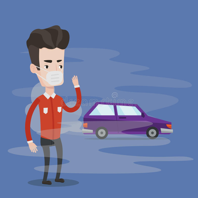 Ατμοσφαιρική ρύπανση από την εξάτμιση οχημάτων διανυσματική απεικόνιση