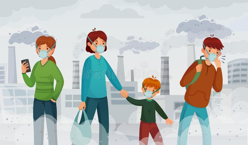 Ατμοσφαιρική ρύπανση πόλεων Ρύποι αιθαλομίχλης, περιβάλλον ασφυξίας και πομπός στη διανυσματική απεικόνιση μασκών αναπνοής διανυσματική απεικόνιση