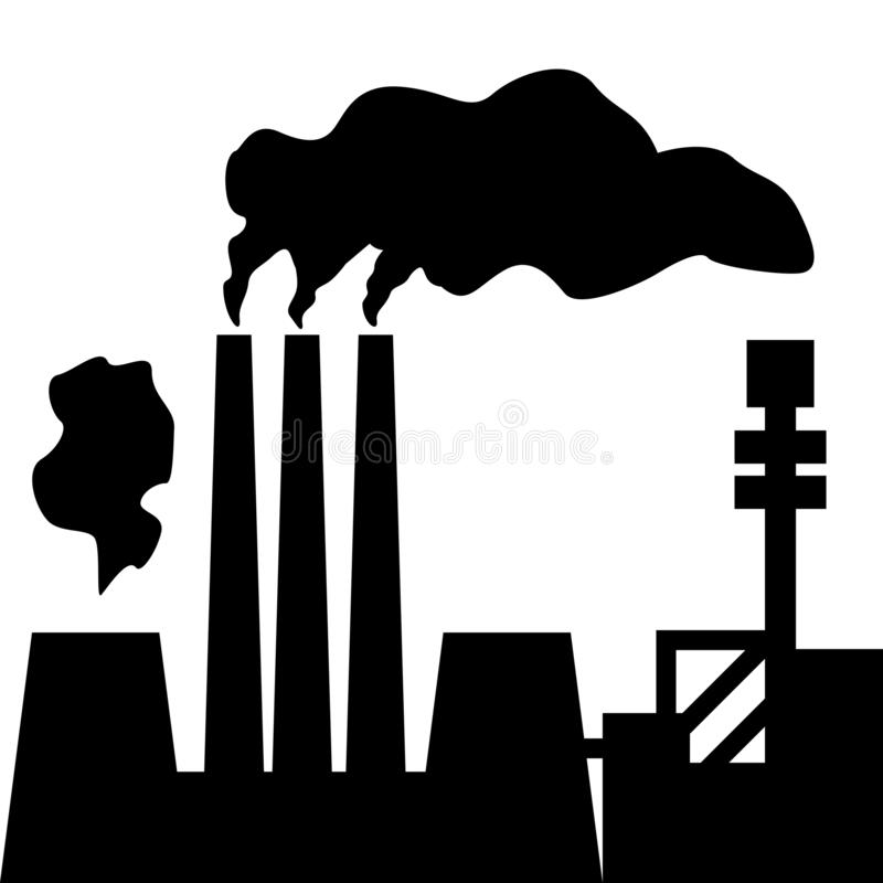 Ατμοσφαιρική ρύπανση Σκιαγραφία του εργοστασίου με τις καπνίζοντας καπνοδόχους r ελεύθερη απεικόνιση δικαιώματος