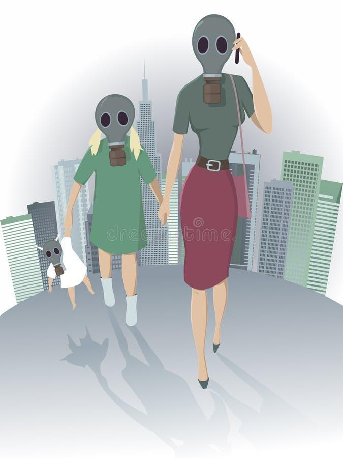 Ατμοσφαιρική ρύπανση στην πόλη ελεύθερη απεικόνιση δικαιώματος