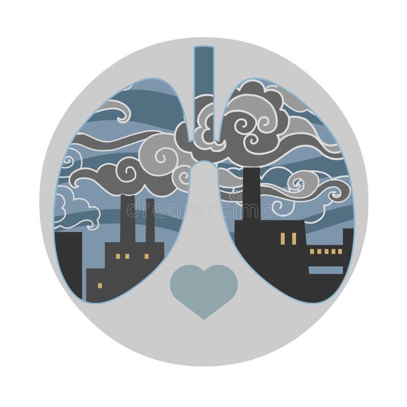 Ατμοσφαιρική ρύπανση Technigenic Στρογγυλό διανυσματικό πρότυπο ελεύθερη απεικόνιση δικαιώματος