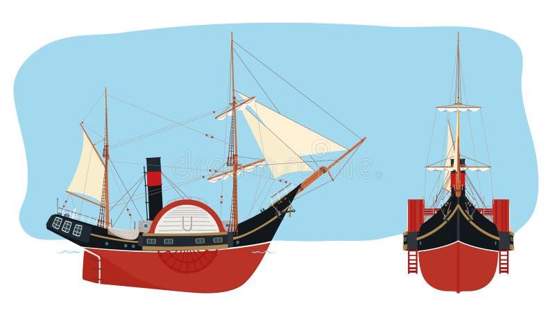 Ατμόπλοιο πανί-ροδών στο αναδρομικό styl απεικόνιση αποθεμάτων