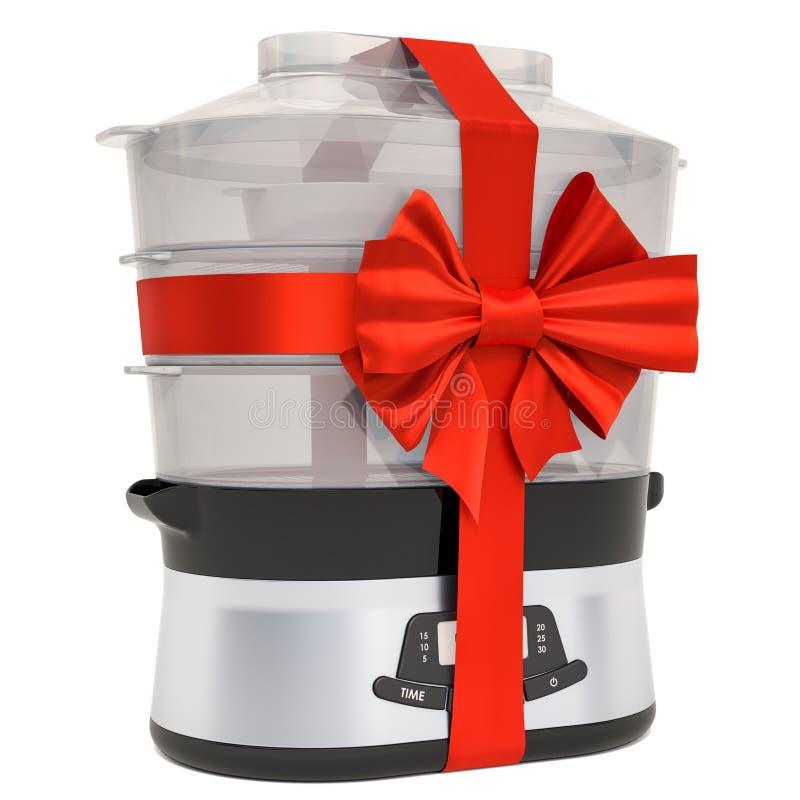 Ατμόπλοιο τροφίμων με την κόκκινα κορδέλλα και το τόξο Έννοια δώρων, τρισδιάστατη απόδοση ελεύθερη απεικόνιση δικαιώματος