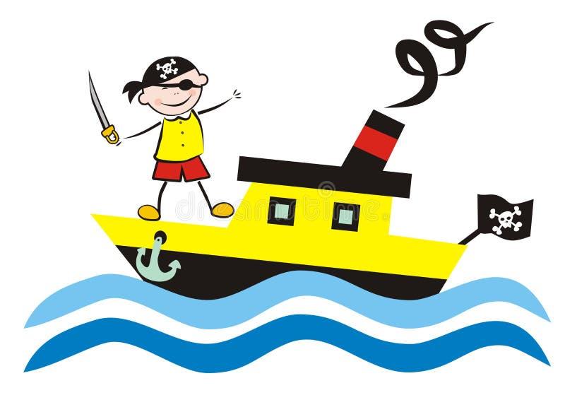 Ατμόπλοιο και πειρατής ελεύθερη απεικόνιση δικαιώματος