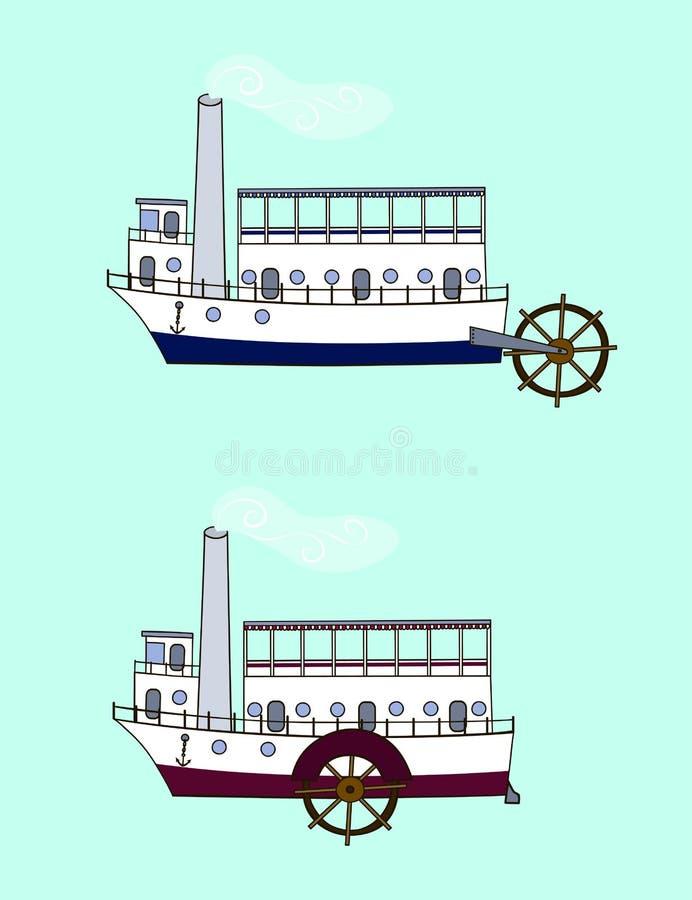 Ατμόπλοιο κινούμενων σχεδίων διανυσματική απεικόνιση