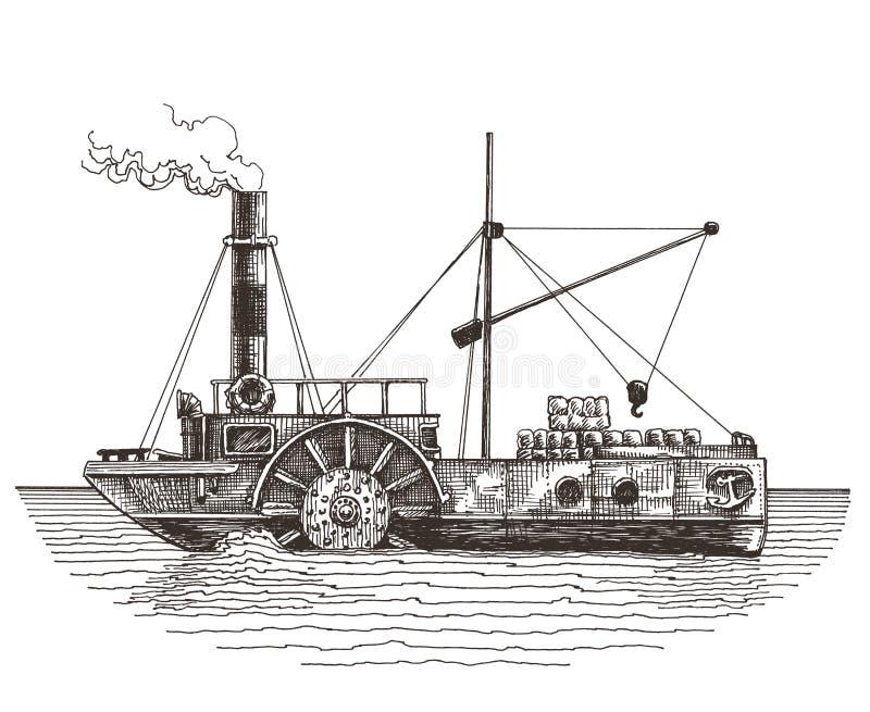 Ατμόπλοιο σε ένα άσπρο υπόβαθρο σκίτσο απεικόνιση αποθεμάτων