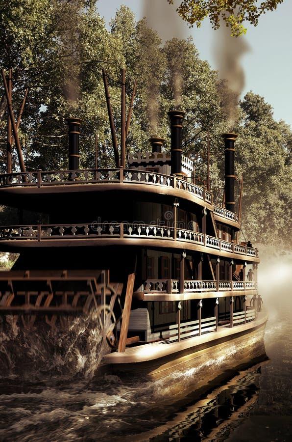 Ατμόπλοιο στον ποταμό ελεύθερη απεικόνιση δικαιώματος