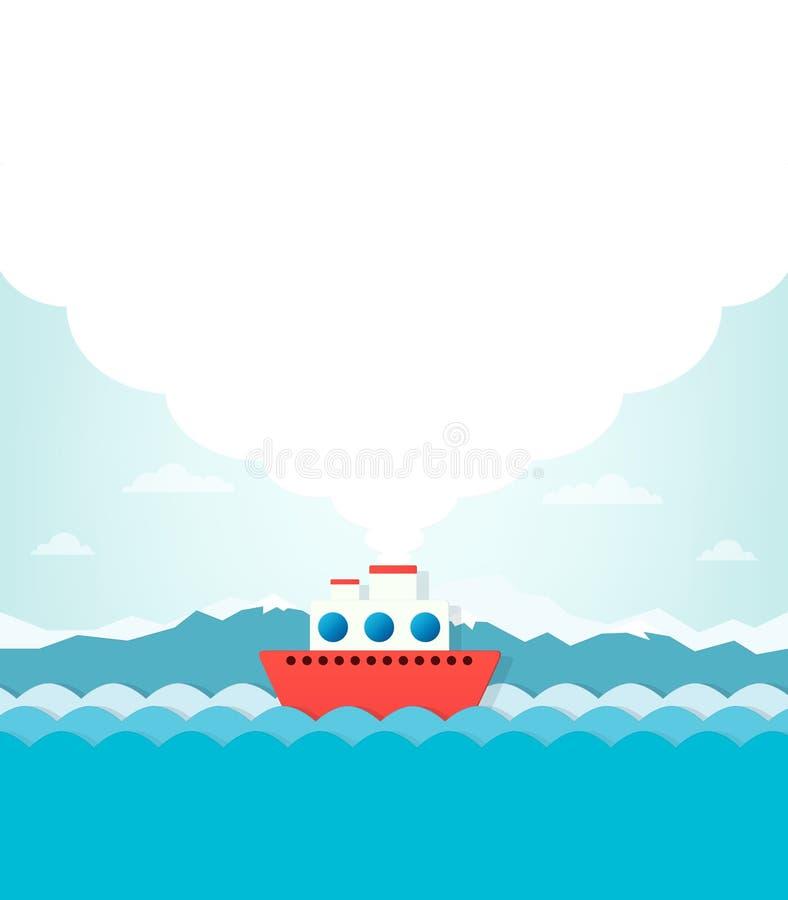 Ατμόπλοιο στο υπόβαθρο των βουνών ελεύθερη απεικόνιση δικαιώματος