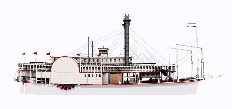 Ατμόπλοιο του Μισισιπή - πλάγια όψη διανυσματική απεικόνιση