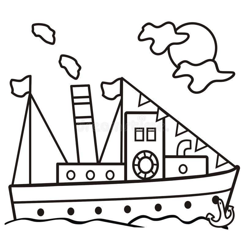 Ατμόπλοιο - χρωματίζοντας βιβλίο διανυσματική απεικόνιση