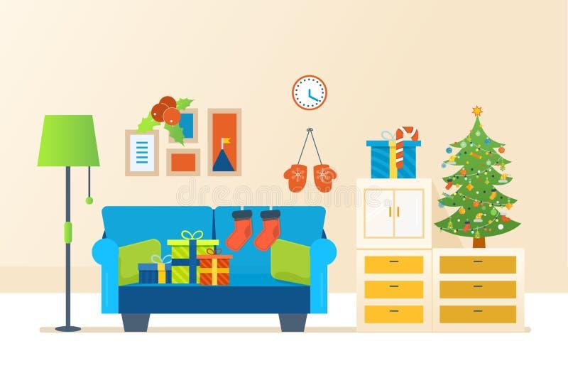 Ατμόσφαιρα του νέου έτους, έπιπλα για τη χαλάρωση Χριστούγεννα εύθυμα απεικόνιση αποθεμάτων