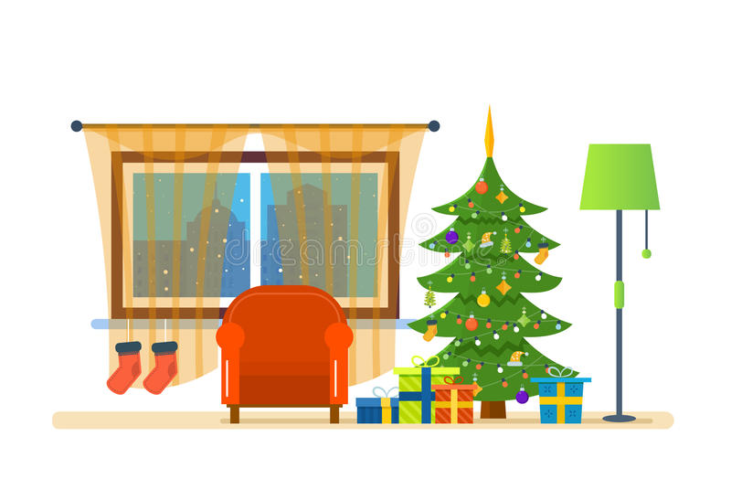 Ατμόσφαιρα του νέου έτους, έπιπλα για τη χαλάρωση Χριστούγεννα εύθυμα ελεύθερη απεικόνιση δικαιώματος