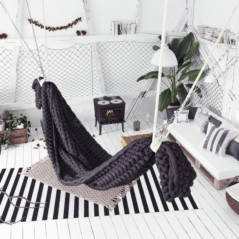 Αττική εσωτερική ιδέα σχεδίου με την αιώρα, Σκανδιναβικό ύφος boho στοκ εικόνες
