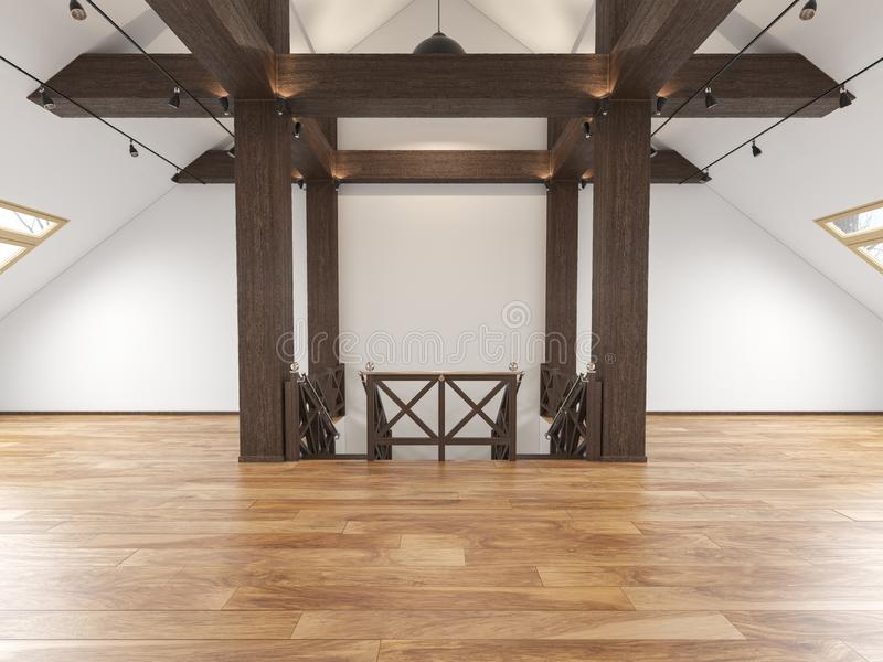 Αττικό κενό εσωτερικό ανοιχτού χώρου σοφιτών με τις ακτίνες, παράθυρα, κλιμακοστάσιο, ξύλινο πάτωμα διανυσματική απεικόνιση
