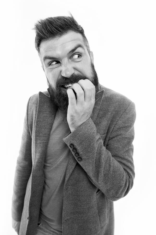 Ατόμων γενειοφόρο δάχτυλο δαγκωμάτων προσώπου hipster αμφισβητήσιμο σκεπτόμενος Νευρικός λάβετε την απόφαση Βάναυσος νευρικός στο στοκ φωτογραφία