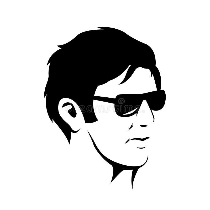 Ατόμων επικεφαλής μαύρη σκιαγραφία απεικόνισης προσώπου hipster διανυσματική απεικόνιση αποθεμάτων