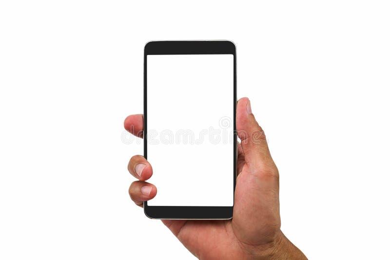 Ατόμων ` s χεριών κινητό τηλέφωνο οθόνης εκμετάλλευσης κενό άσπρο στο άσπρο υπόβαθρο στοκ φωτογραφία με δικαίωμα ελεύθερης χρήσης