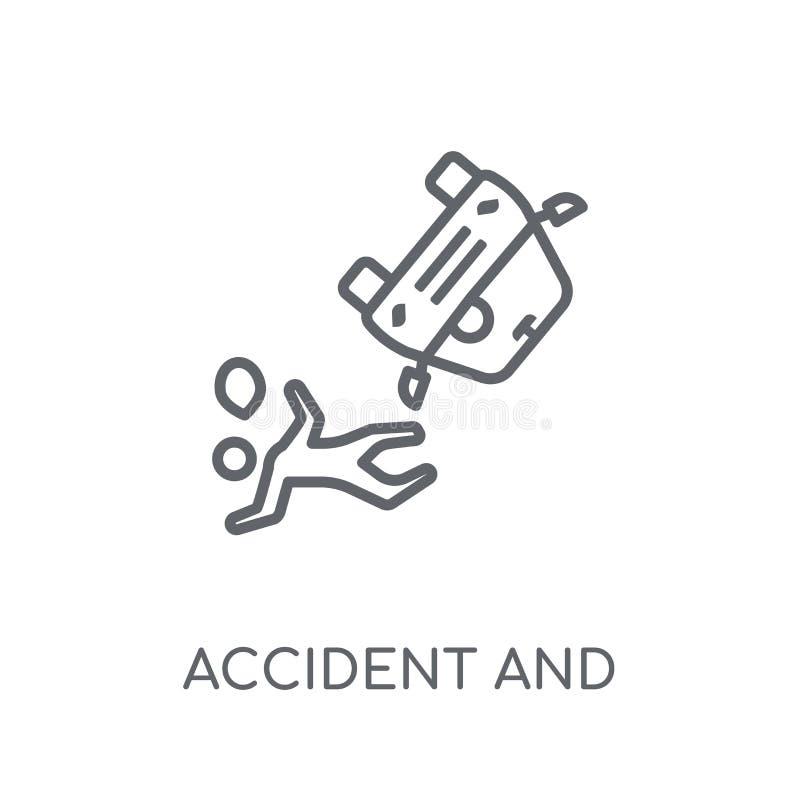 ατύχημα και γραμμικό εικονίδιο τραυματισμών Σύγχρονα ατύχημα περιλήψεων και ι διανυσματική απεικόνιση