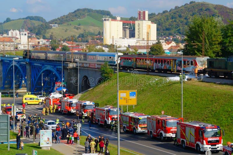Ατύχημα 2016 σιδηροδρόμων τρυπανιών πυρκαγιάς στοκ φωτογραφία με δικαίωμα ελεύθερης χρήσης