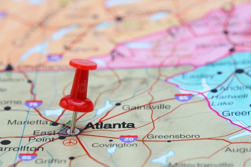 Ατλάντα που καρφώνεται σε έναν χάρτη των ΗΠΑ στοκ φωτογραφία με δικαίωμα ελεύθερης χρήσης