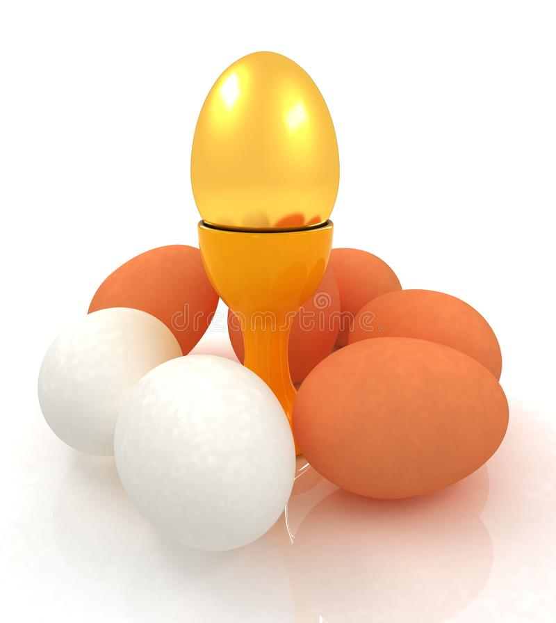 Αυγά και χρυσό αυγό Πάσχας στα φλυτζάνια αυγών απεικόνιση αποθεμάτων