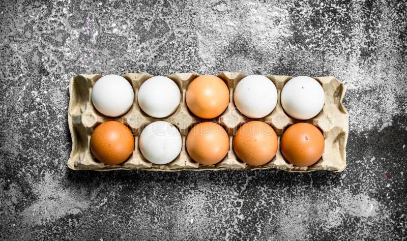 Αυγά κοτόπουλου σε μια κασέτα στοκ φωτογραφίες με δικαίωμα ελεύθερης χρήσης
