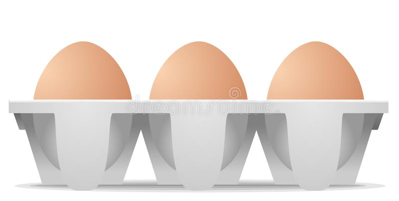 Αυγά κοτόπουλου στο κιβώτιο αυγών χαρτοκιβωτίων απεικόνιση αποθεμάτων