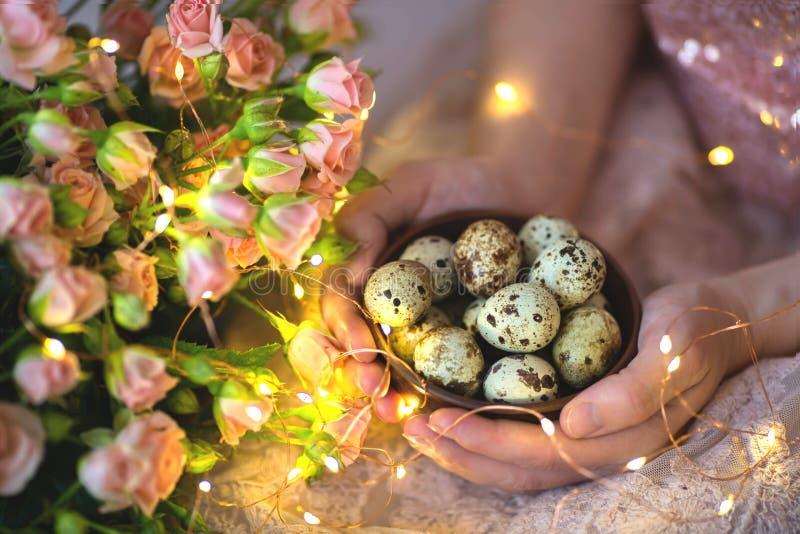 Αυγά ορτυκιών σε ένα ξύλινο πιάτο στα χέρια ενός κοριτσιού σε ένα ρόδινο υπόβαθρο στοκ εικόνα